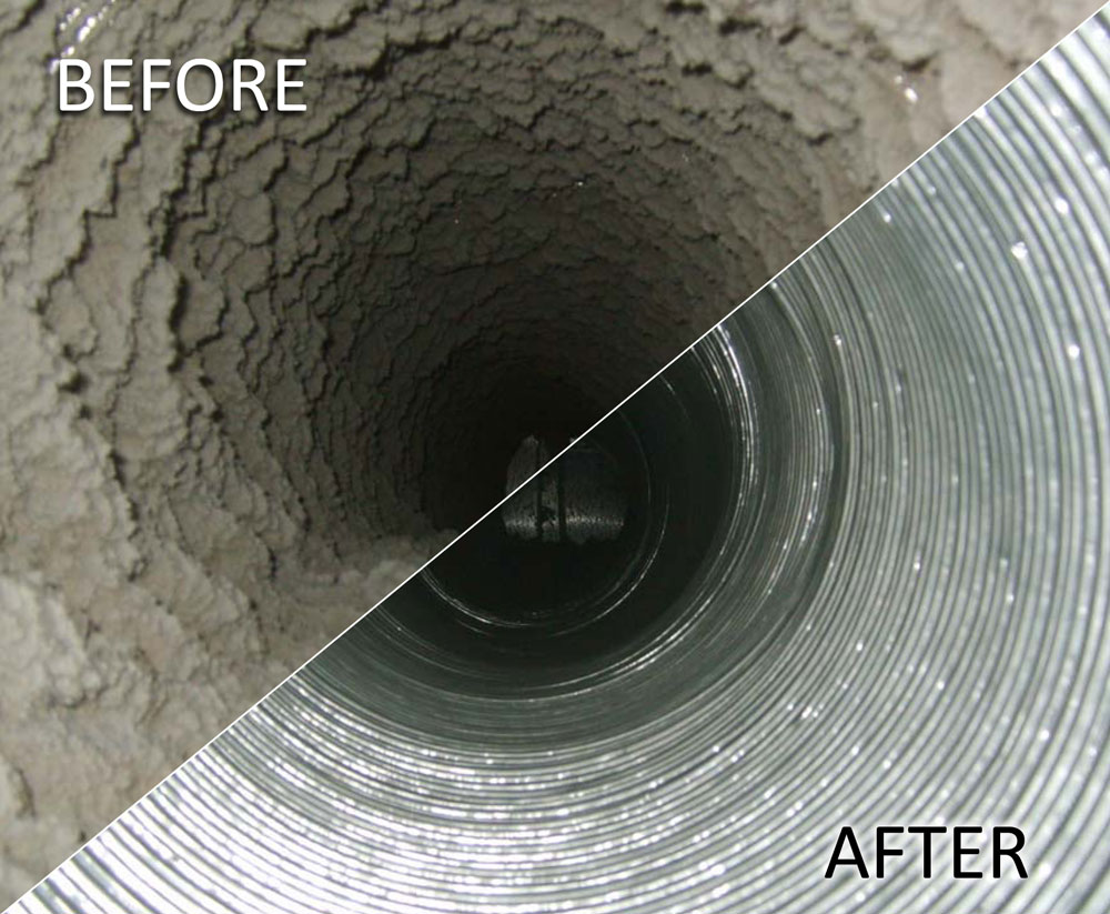 Clean Air Conditioning Duct - Before and After